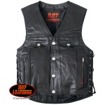 6 Pocket Men's Leather Motorcycle Vest
