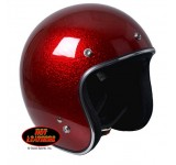 Hot Leathers D.O.T. Open Face Red Flake Helmet