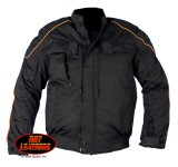 Hot Leathers Men's Padded Jacket with Orange Piping