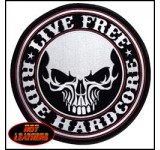 Hot Leathers Live Free Ride Hardcore Skull Patch (Large)