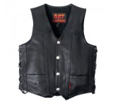 Hot Leathers Heavyweight Black Leather Vest with Lace-Up Sides