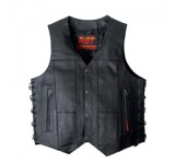 Hot Leathers Mens Ten Pocket Leather Vest