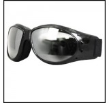 Hot Leathers Eliminator Style Motorcycle Riding Goggles with Clear Mirror Lenses