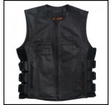 Hot Leathers Mens Leather Vest with Adjustable Side Straps