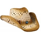 Hot Leathers Vented Western Straw Hat with Beaded Headband