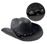 Hot Leathers Black Straw Cowboy Hat